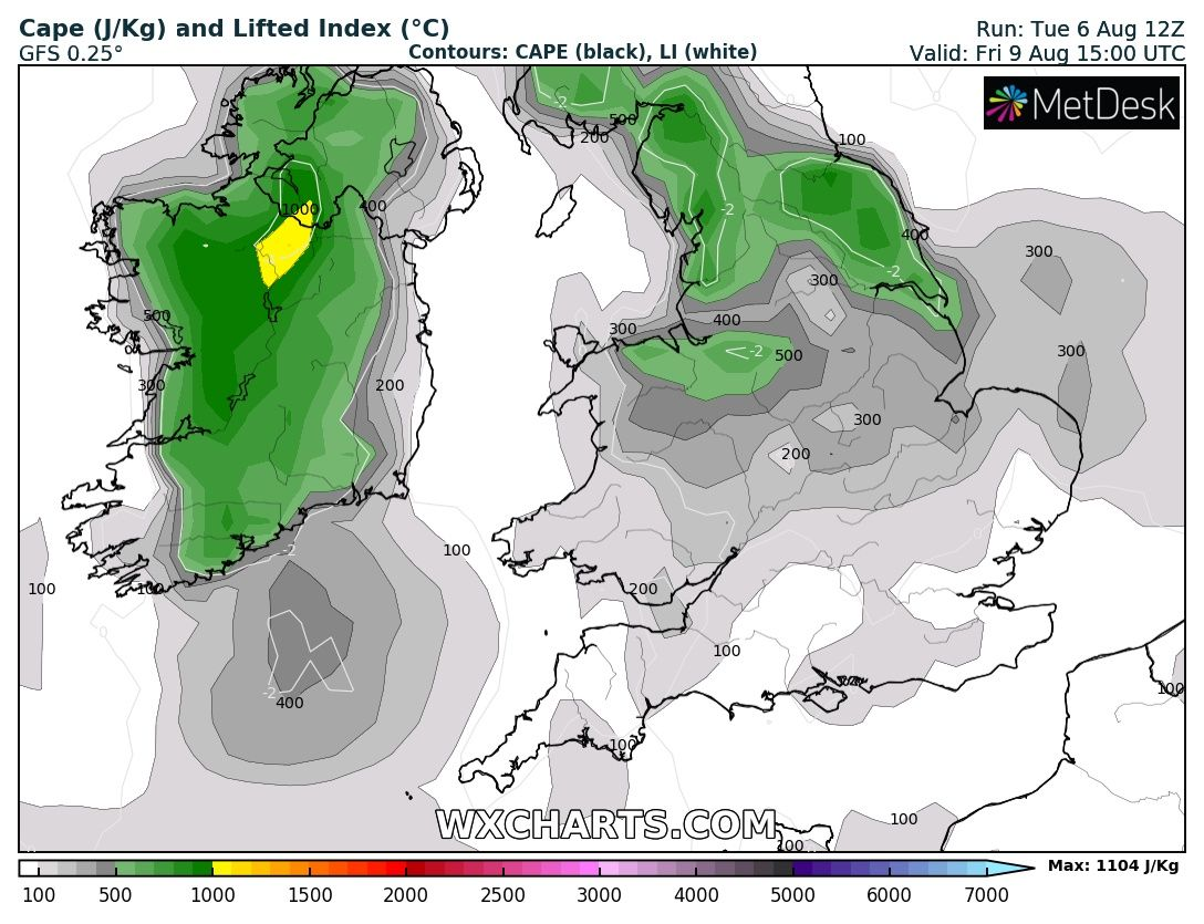 This image shows high levels of unstable air across Ireland which could lead to some thunderstorm activity on Friday