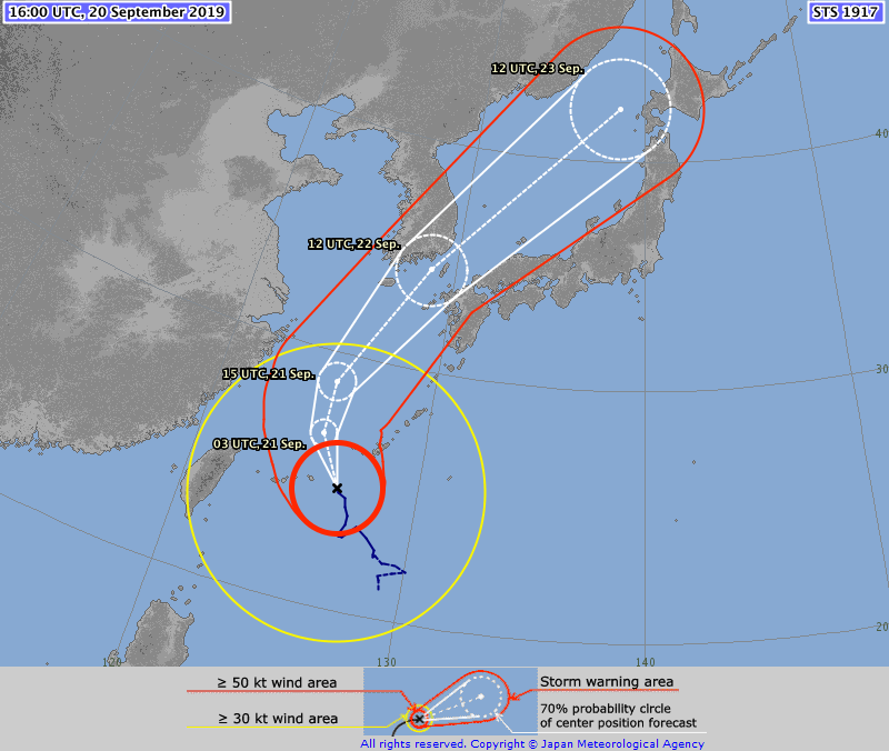 Tropical Cyclone track over Japan this weekend