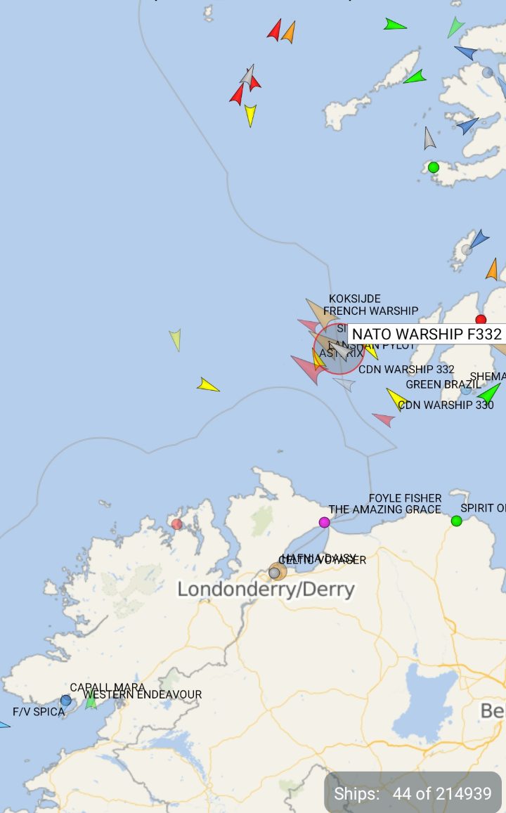 Latest view of the large amount of military ships between Scotland and Ireland this morning.