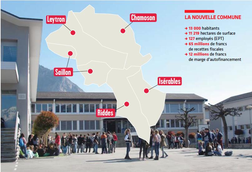 Les cinq communes concernées par la fusion. Source: Le Nouvelliste