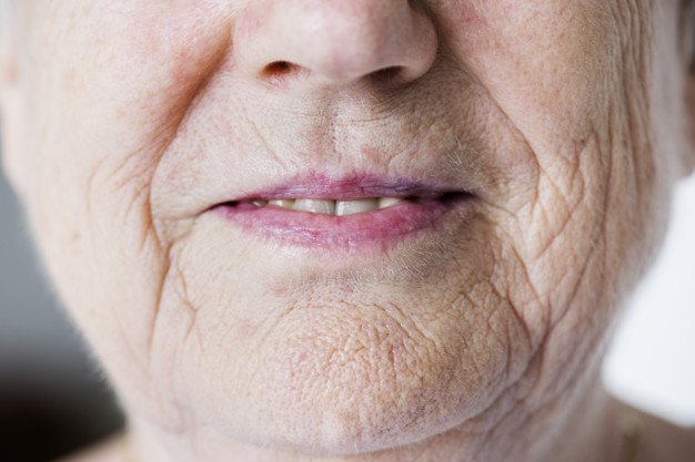 portrait white elderly woman closeup smiling lips 53876 24746