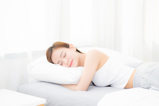 beautiful asian young woman sleeping lying bed with head pillow 7192 1487