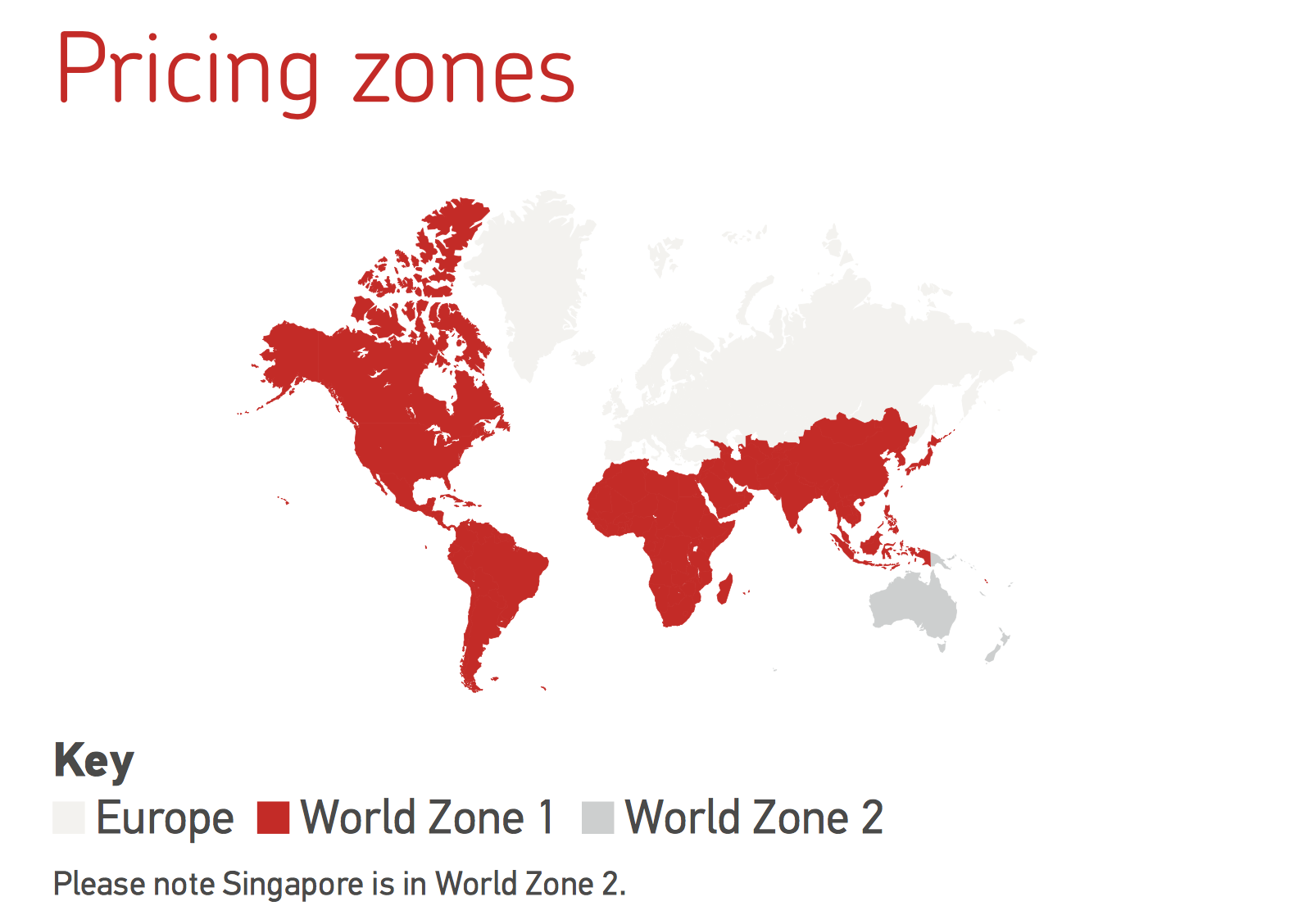 Royal Mail International Shipping Zones Map as of March 2018.