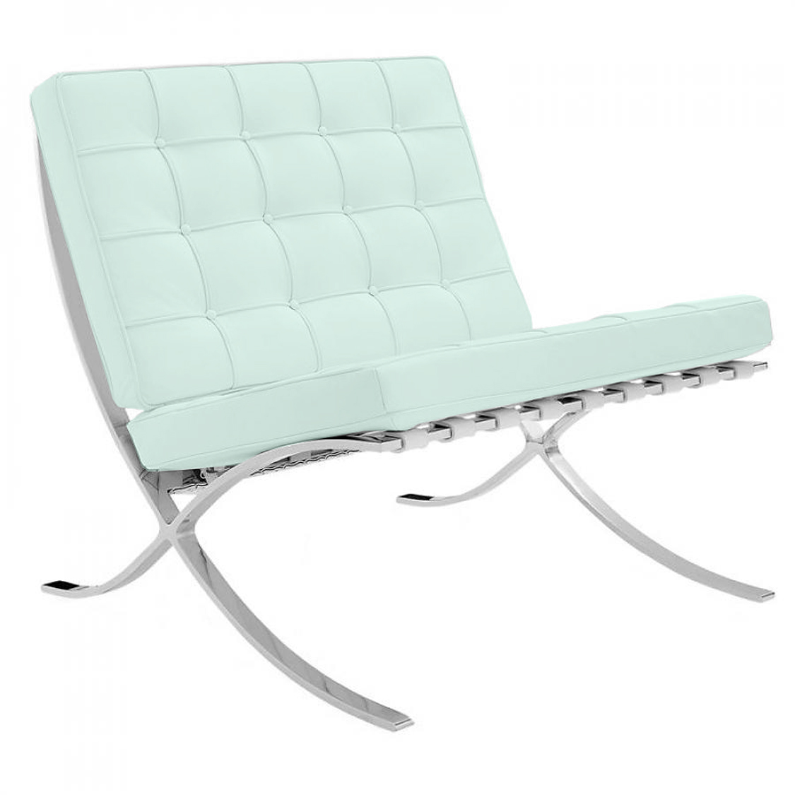Mies Barcelona Chair in Mint Green Leather