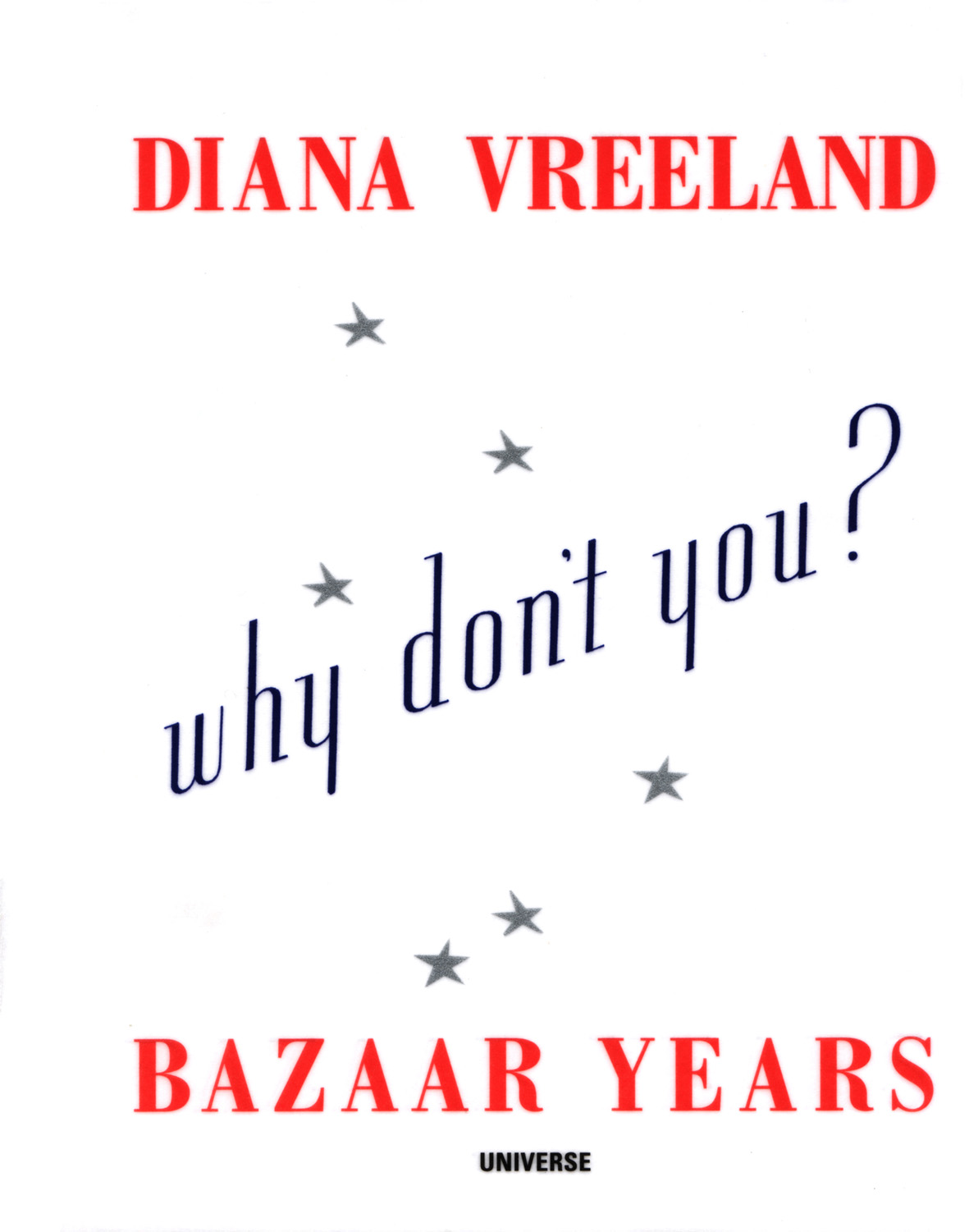 Why Don't You…? (November 2001) - A celebration of Diana Vreeland – one of the world's greatest fashion iconoclasts – and her spectacular advice for stylish living, from interior design to accessorising. Published by Universe/Rizzoli, her unique ideas redefined attitudes about day-to day life and style and for anyone in need of a
