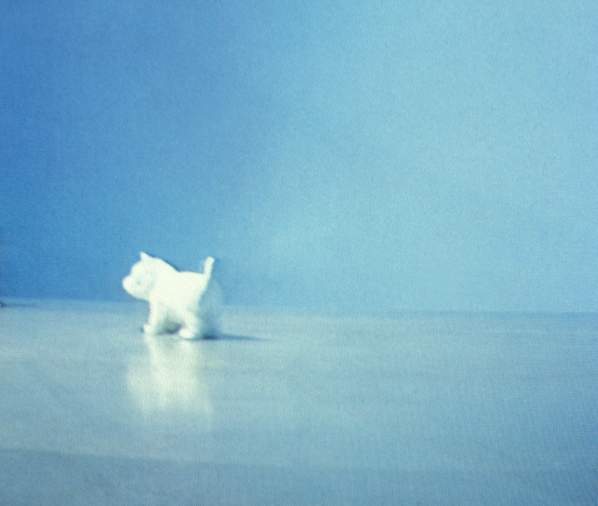 porcelain dog from a video scene