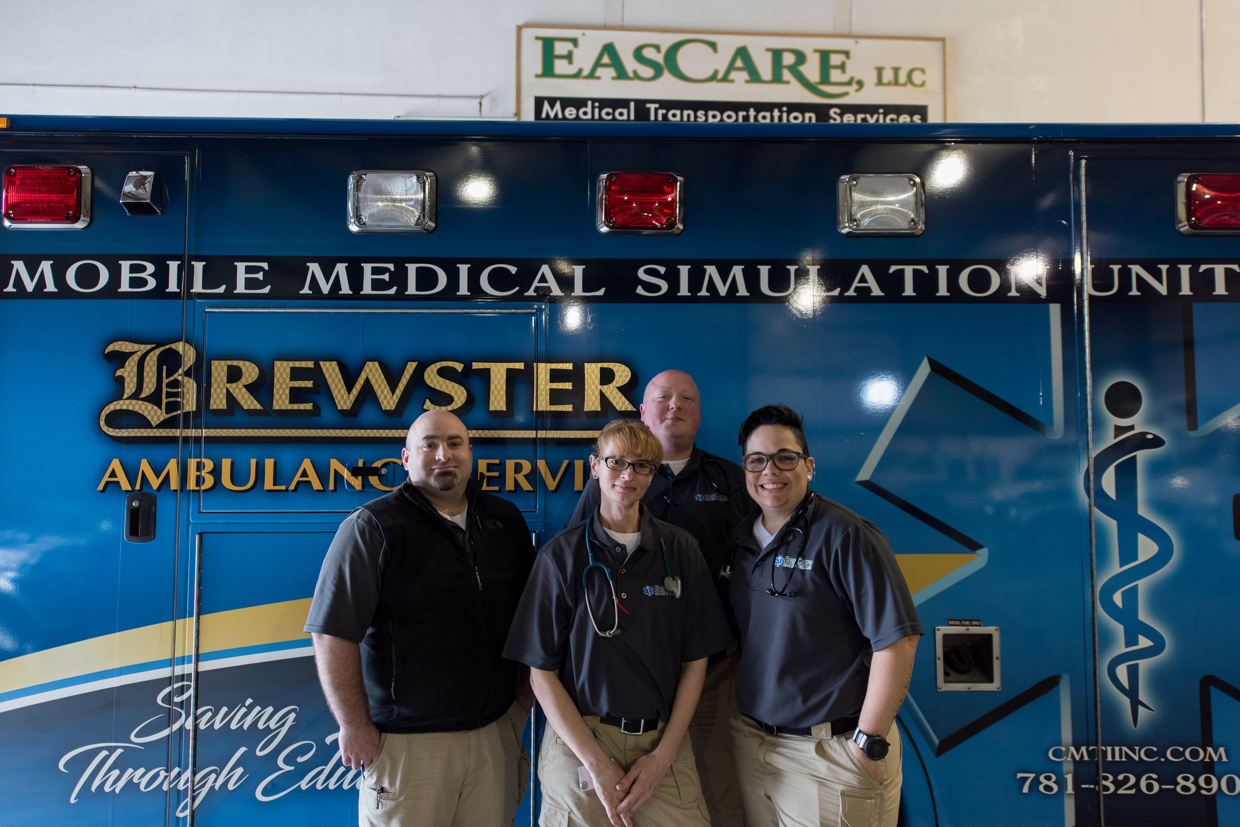 EasCare's MIH team preparing for a day of training with Brewster Ambulance Service and CMTI's Mobile Medical Simulation Unit