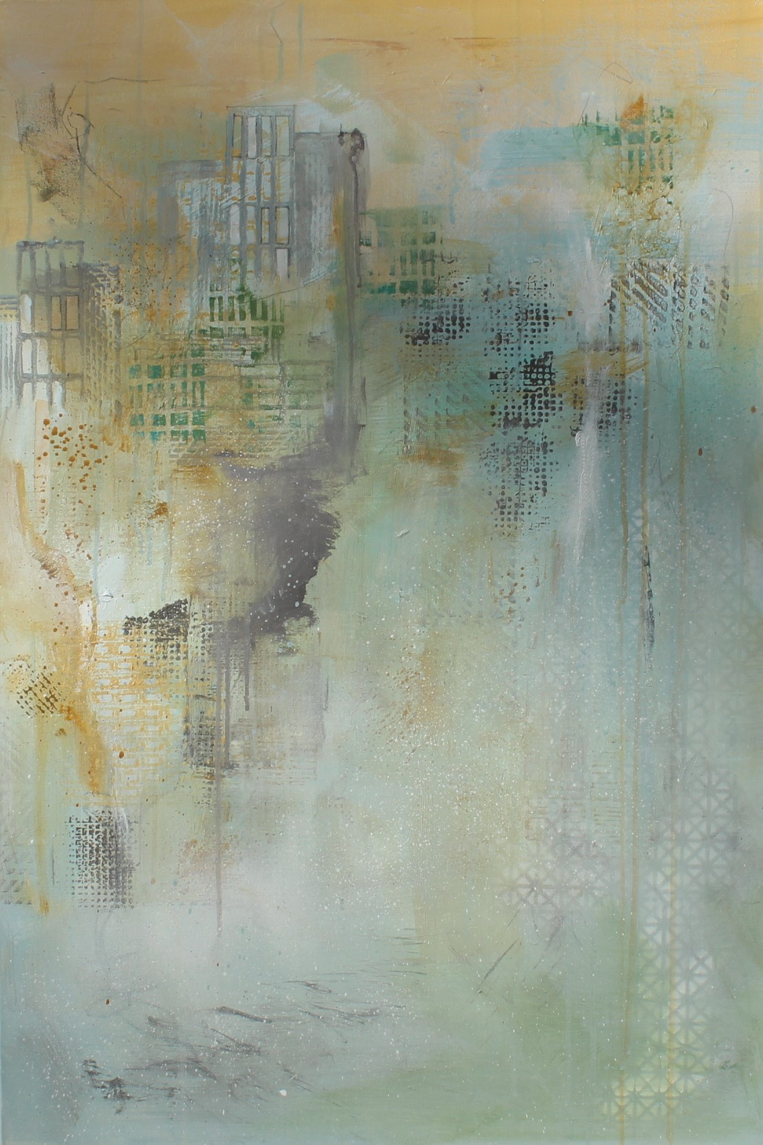 "Trepidation - 24""w x 36""h x 1.5""dmixed media on gallery canvas"