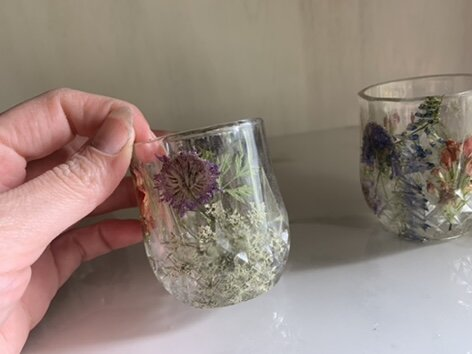 resin shot glass with real dried pressed flowers yellow flowers botanical art housewarming gift bar wear glass shot glass