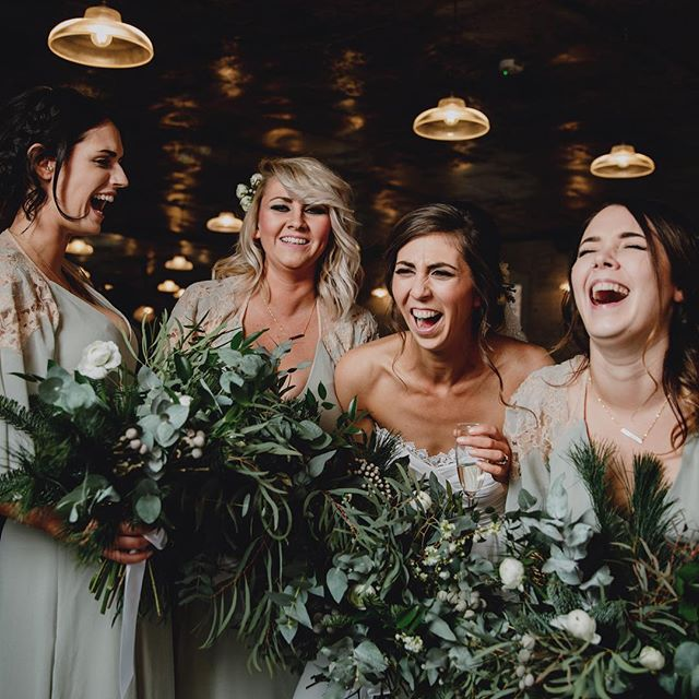 What's not to love about this image? Beaut bride & bridesmaids, bouquets to die for and the happiest, smiliest faces 👌❤️