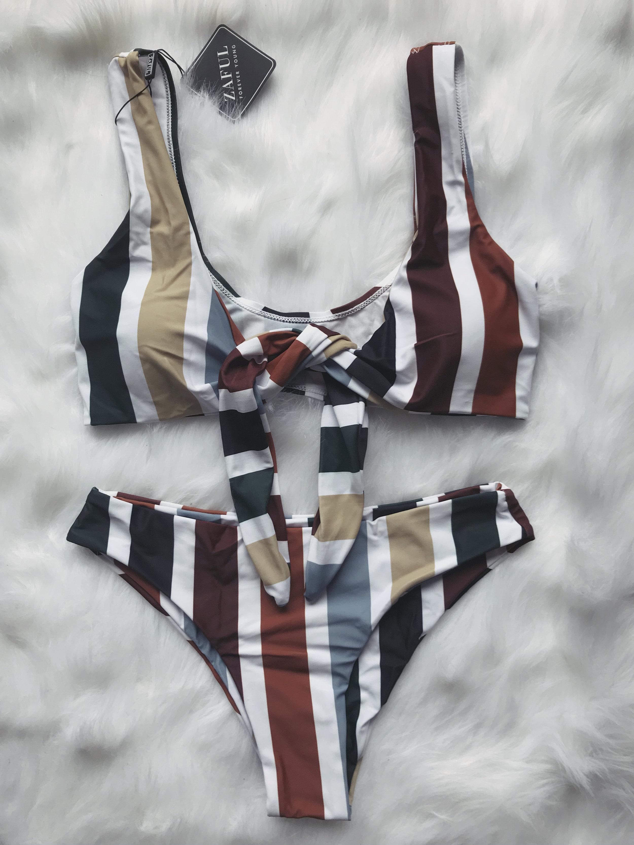 Colorful Striped Tie Front Bikini Set - Multi