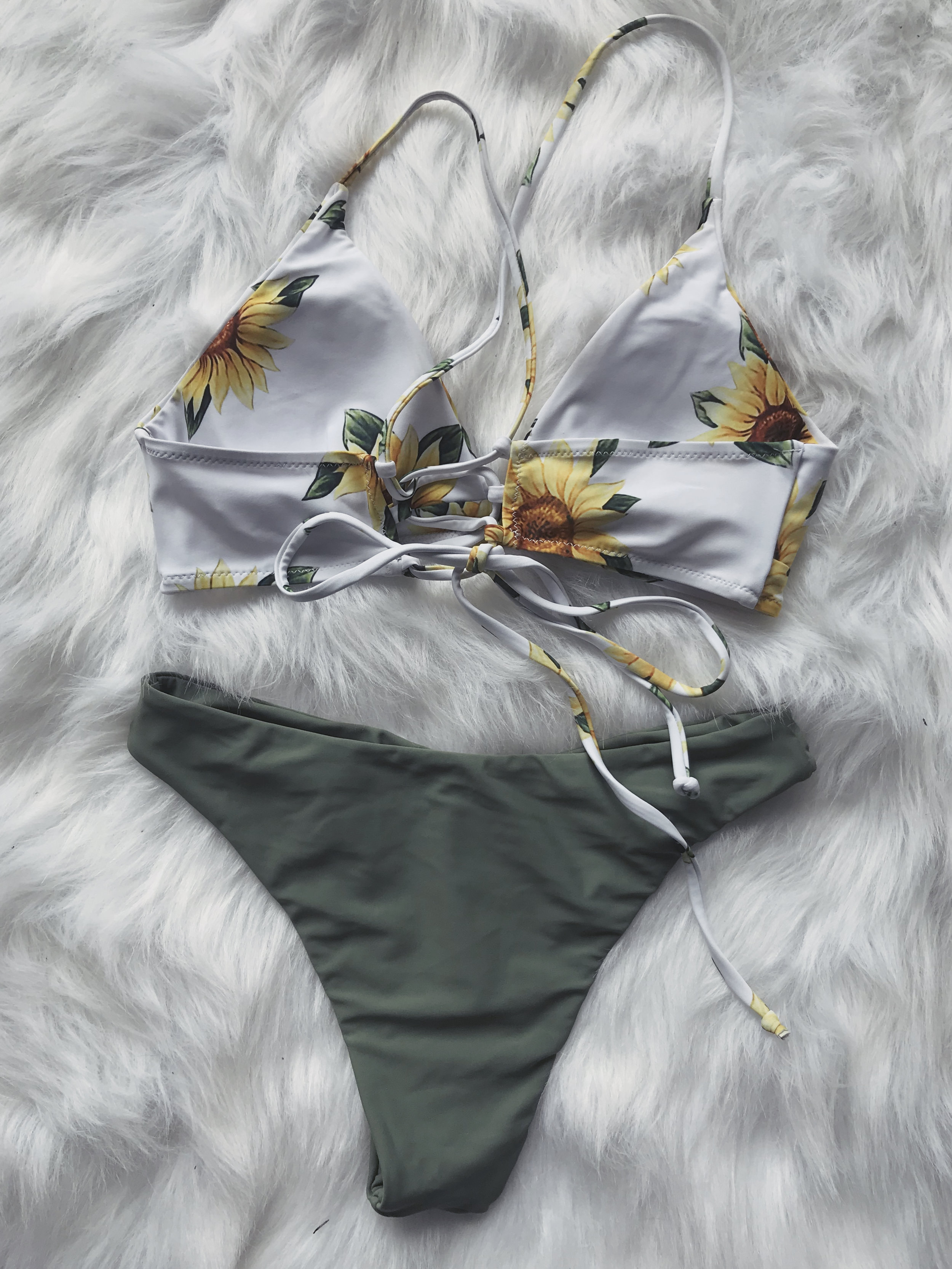 Sunflower Criss Cross Bikini Set - Camouflage Green