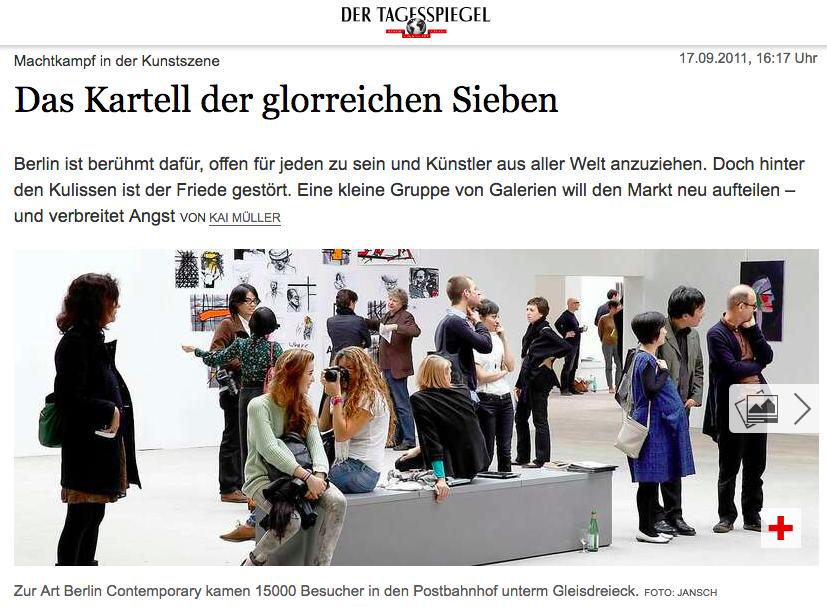 """Der Tagesspiegel - """"Vielleicht muss man von Außen auf Berlin blicken, um zu erkennen, woran die Kunstszene leidet. Aber die Aufforderung von Trice' Manifest, sich zu verbünden, sie wird längst praktiziert. Viele sagen derzeit: Es gibt in Berlin ein Kunstkartell."""" Link to article."""
