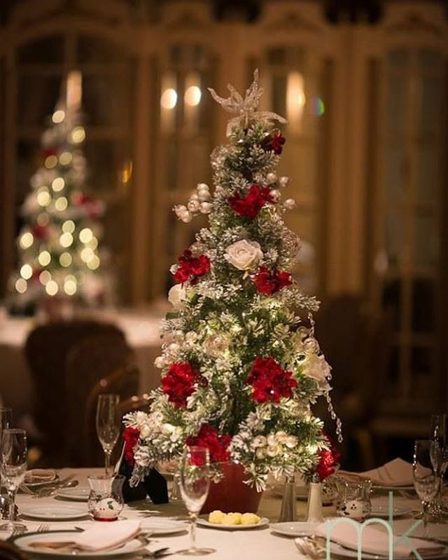 My absolute favorite centerpiece this time of year is trees!! #christmastree #christmas  #holidayparty #centerpieces #wedding #podcast