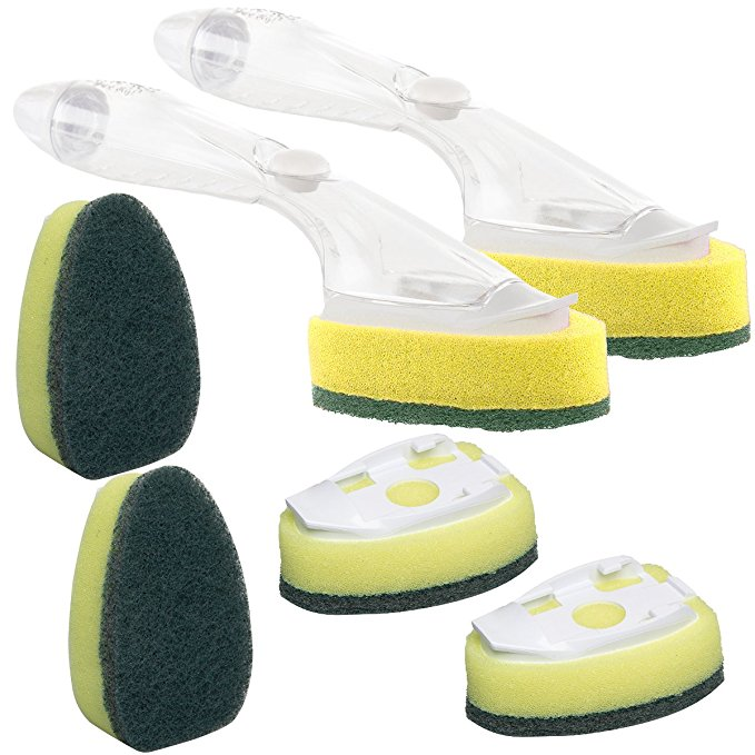 We use these to hold a combination of Thieves Household Cleaner and Thieves Dish Soap to scrub our showers! It takes out the chemicals and all the work!