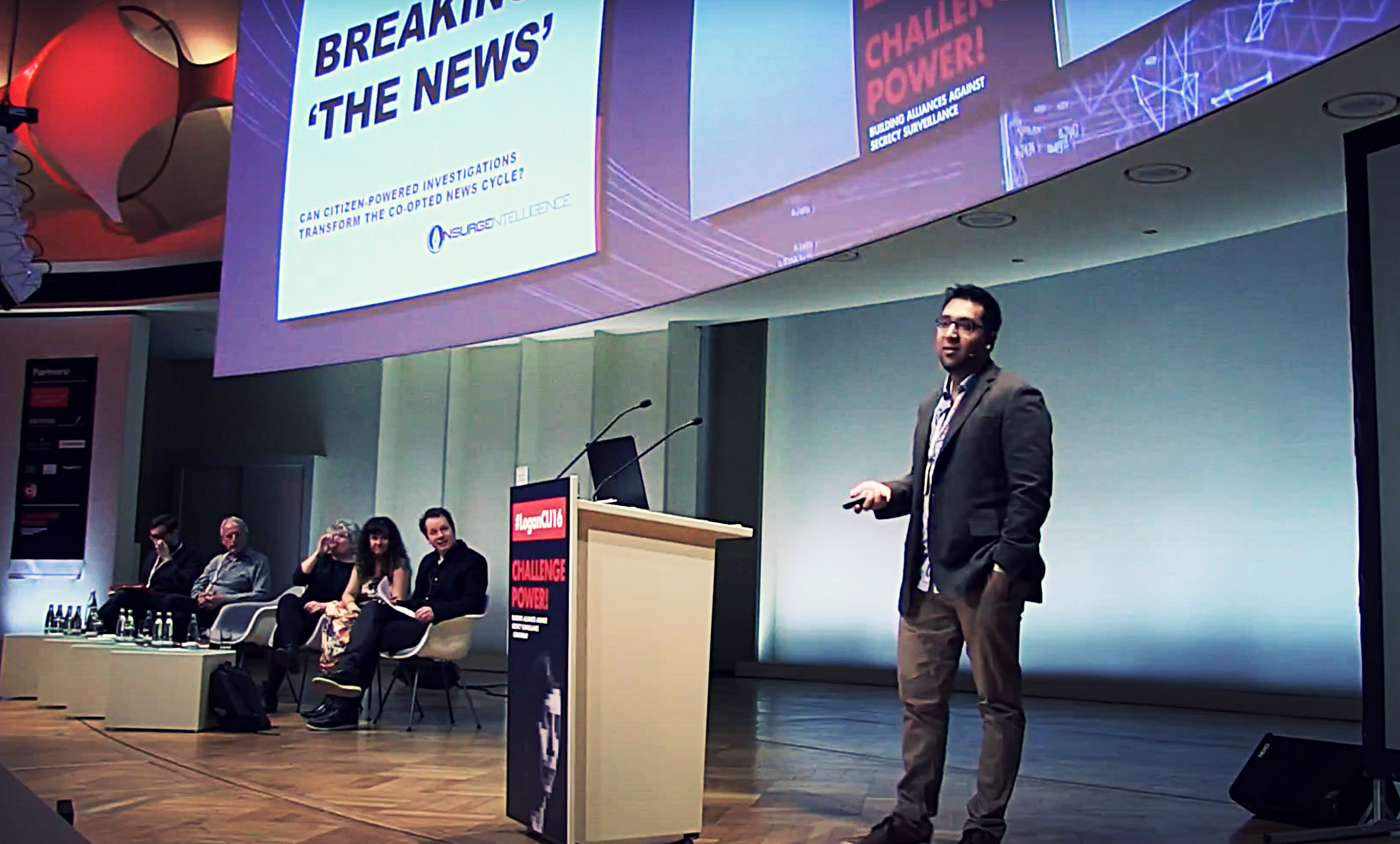 Nafeez Ahmed speaking about his independent journalism venture, INSURGE intelligence, and his experiences at The Guardian, at the Center for Investigative Journalism's Logan Symposium, 2016