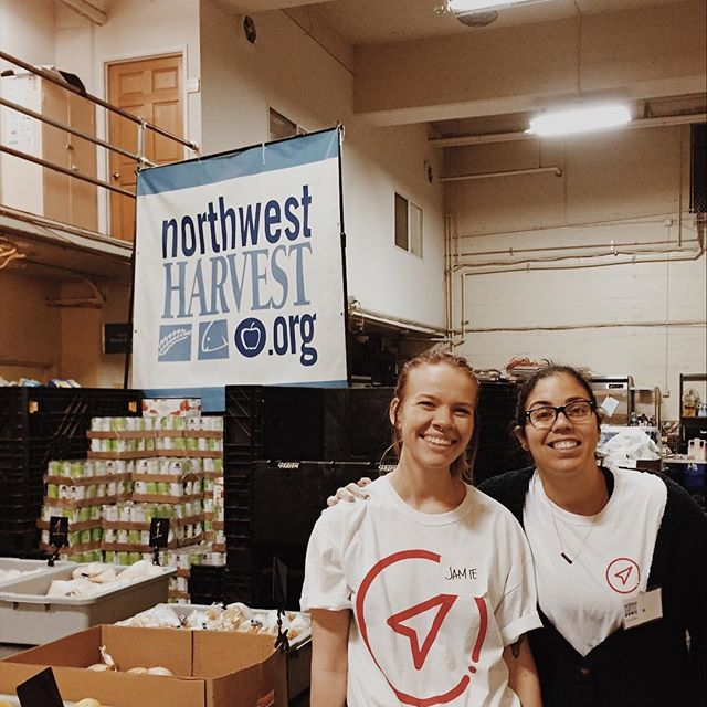 We went volunteering! 🎉  Today my business @workwithcompass and our coworking space @the_pioneercollective partnered to help the Northwest Cherry Street Food Bank in their efforts to alleviate hunger in Seattle.  If you see one of the Northwest Harvest boxes and you can: donate. Everything goes straight into the hands of those that need it most. . . . . . . #volunteer #seattle #smallbusiness