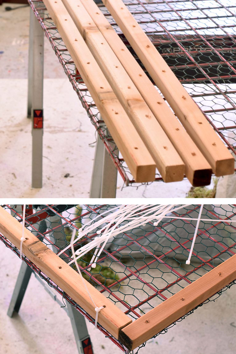 - Once they've been drilled, attach the wood spacers to the grid by securing a zip tie through every otherhole.Next, cover the other grid with chicken wire as you did in Step 1. You won't need spacers on this one, just the chicken wire. This will be the top piece of 'bread' to our sandwich.