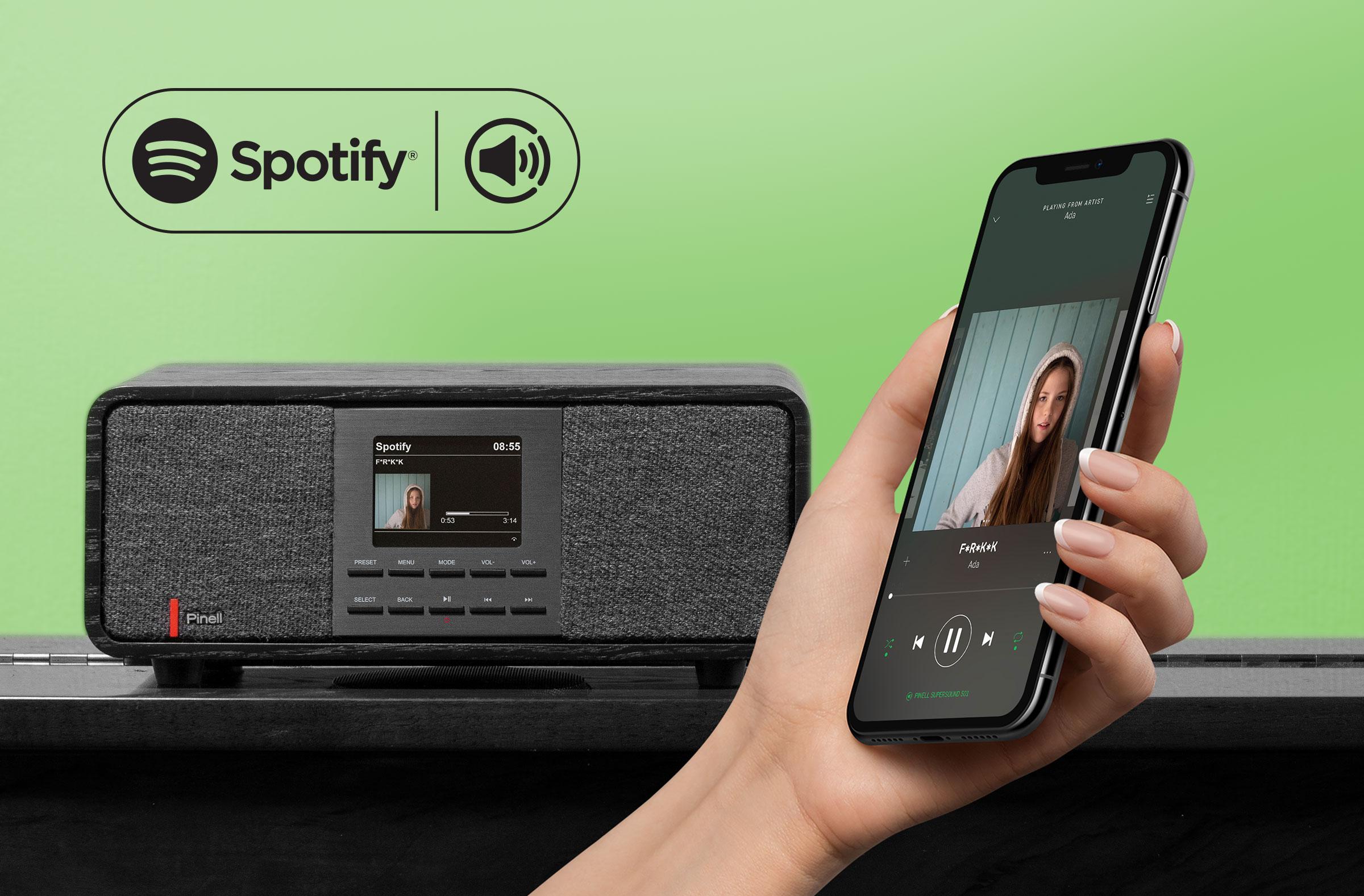 Lytt til det enorme  Spotify -biblioteket. Styr musikken på SUPERSOUND 501 ved hjelp av Spotify-appen på telefonen eller nettbrettet.