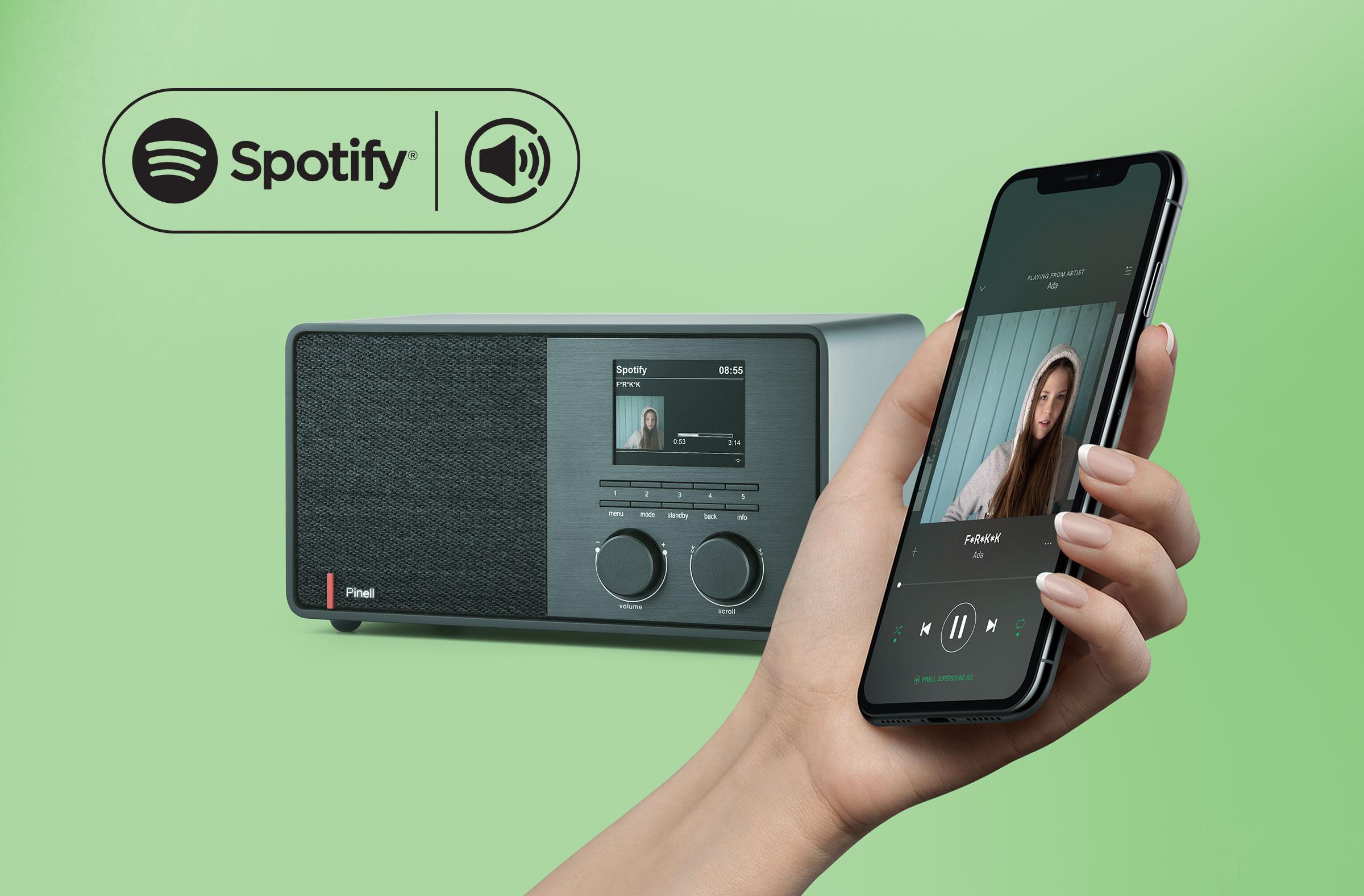 Lytt til det enorme  Spotify -biblioteket. Styr musikken på SUPERSOUND 301 ved hjelp av Spotify-appen på telefonen eller nettbrettet.