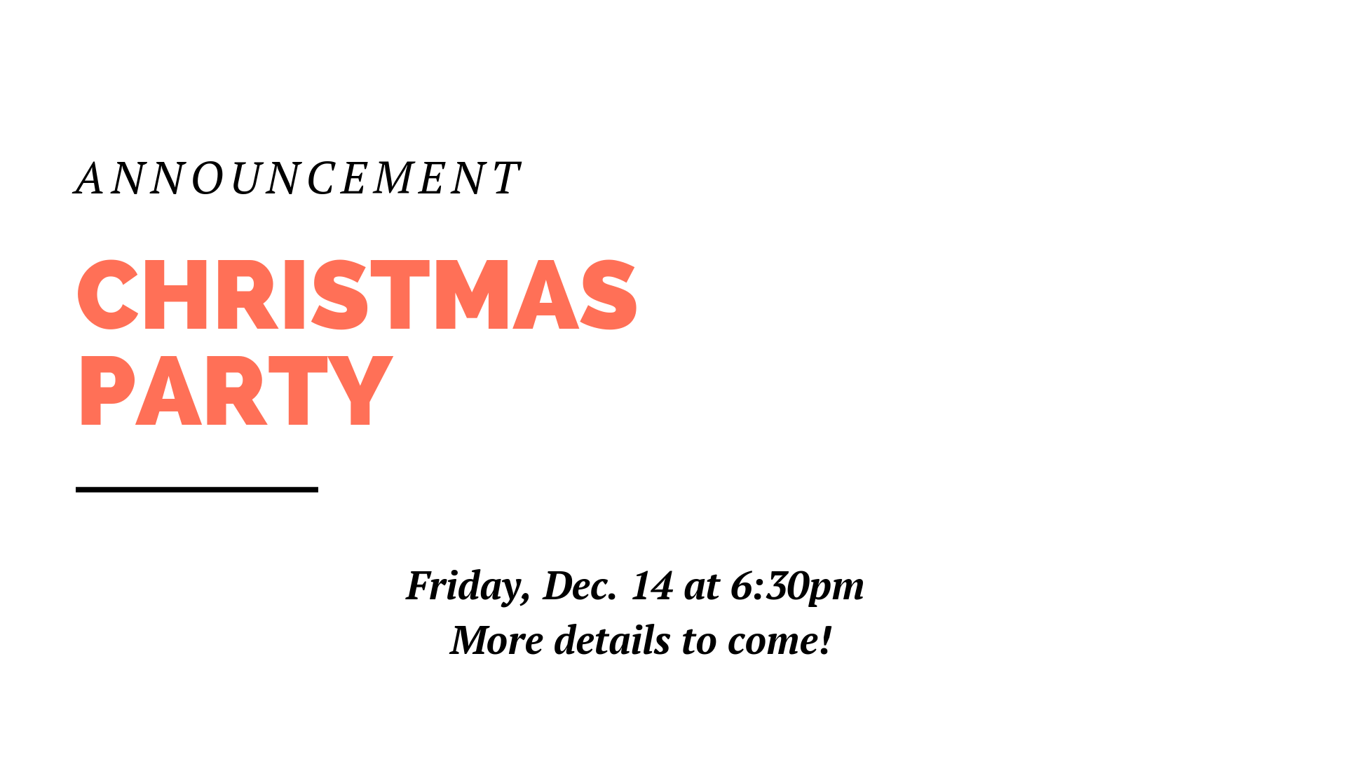 Mark your calendars for Friday, Dec. 14 at 6:30pm because our Youth Cohort will be putting on a Christmas Party that night for the whole church. More details to come.