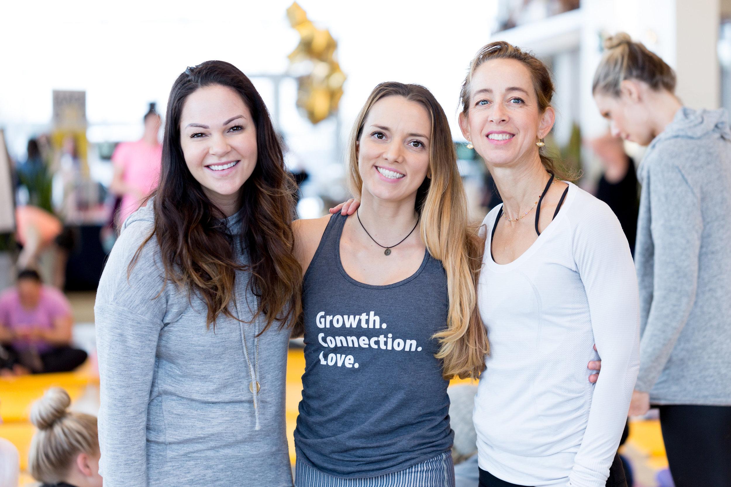 Yoga instructors Katie Miller, Danielle Jokinen and Jes Rosenberg.