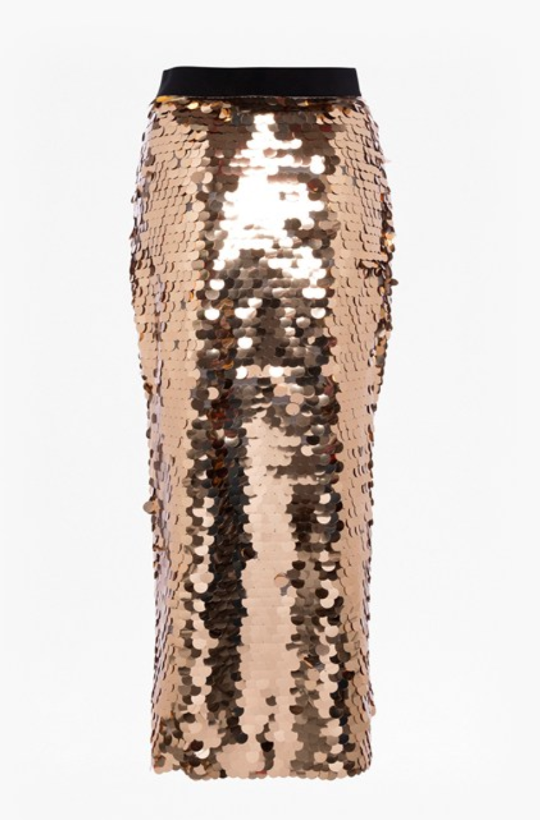 French Connection Emilia Sequin Jersey Midi Skirt