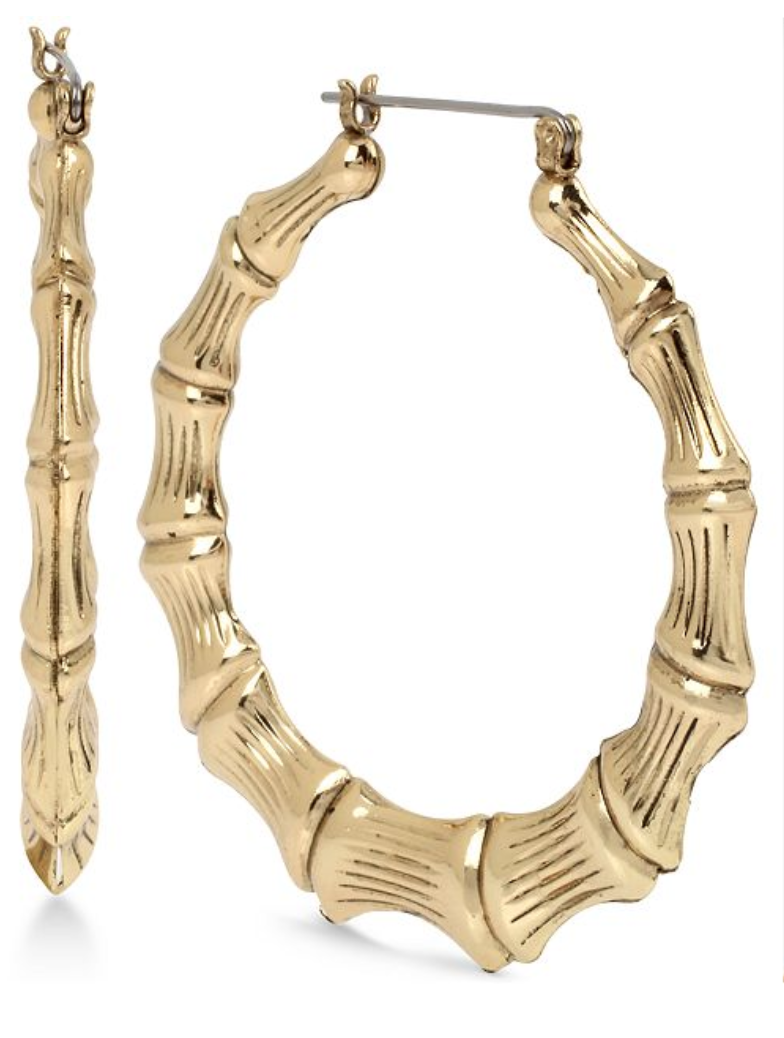 Betsey Johnson Extra Large Gold-Tone Bamboo-Style Hoop Earrings