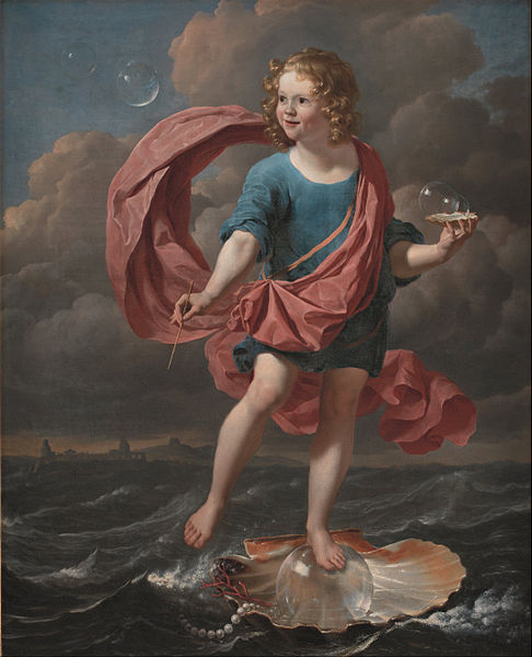 Boy Blowing Soap Bubbles. Allegory on the Transitoriness and the Brevity of Life - Karel Dujardin (1663)