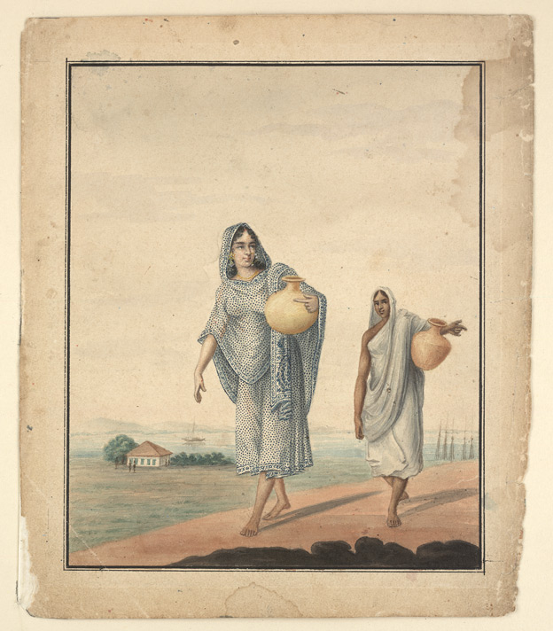 Watercolour of two women carrying water in pots - Bani Lal (c.1850-1901)