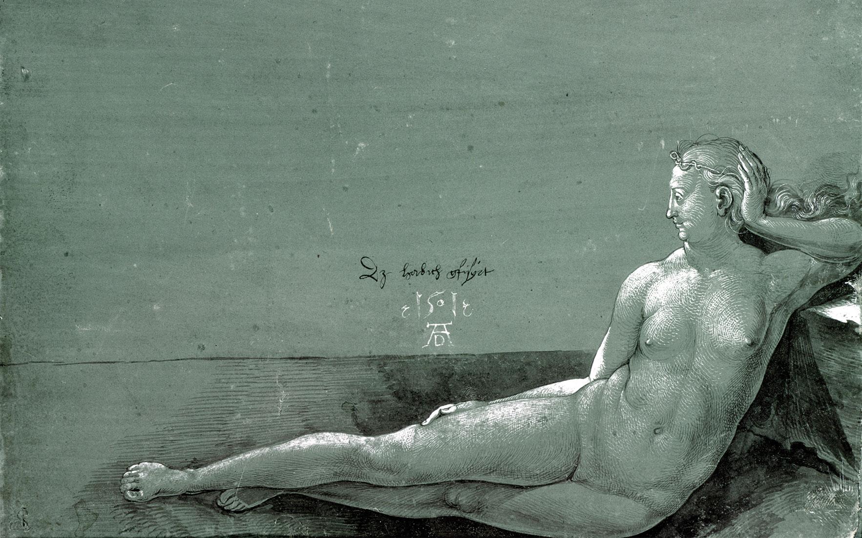 Reclining female nude - Albrecht Dürer (1501)