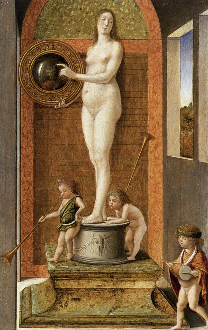 Naked woman in front of the mirror - Giovanni Bellini (c.1490)