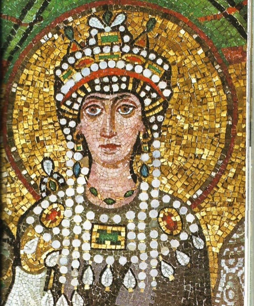 Theodora (500-548), Byzantine Empress and Wife of Emperor Justinian I, Detail of Byzantine Mosaic, Basilica of San Vitale, Ravenna, Italy.