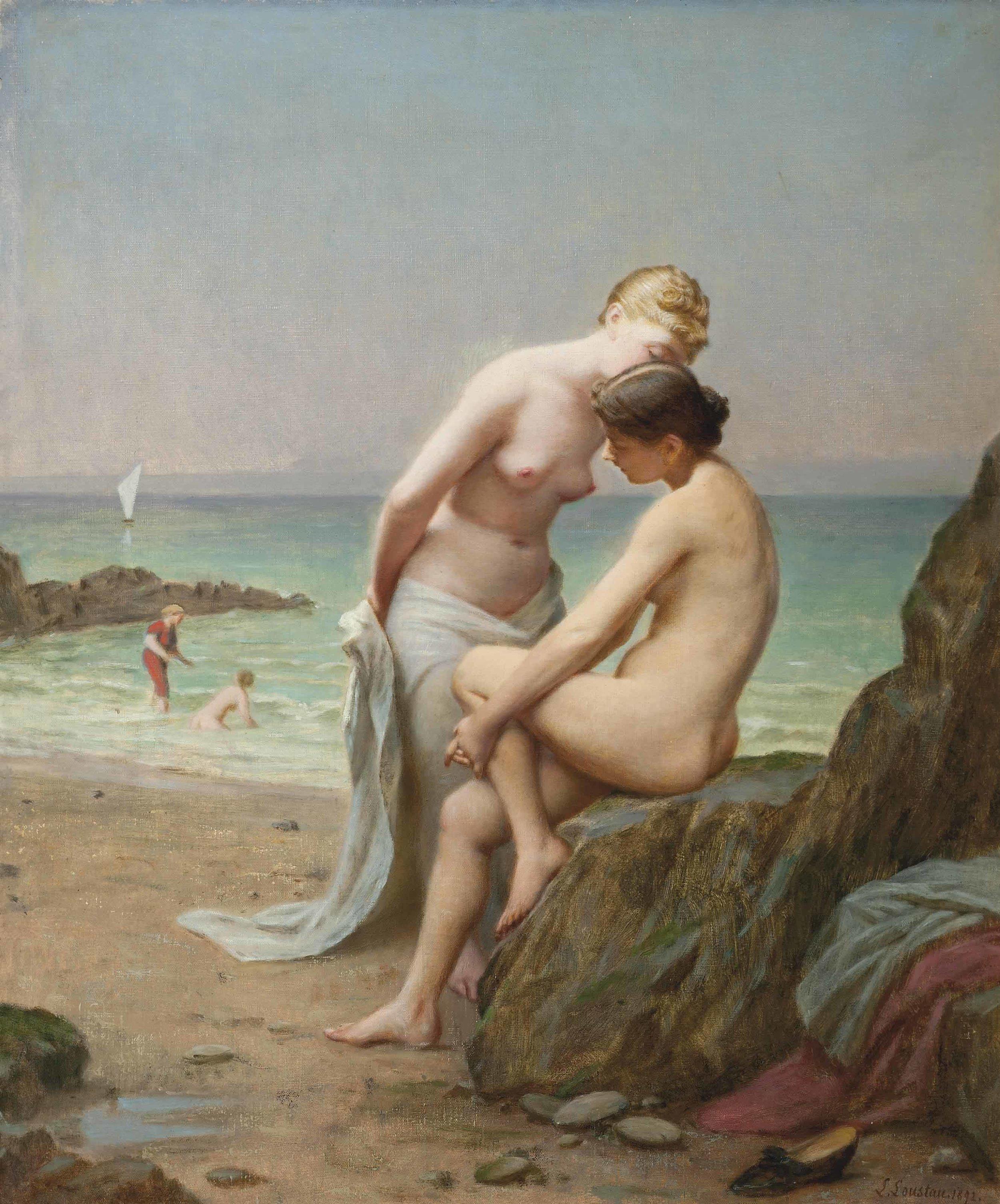 Secrets on the shore - Jacques Joseph Léopold Loustau (1892)