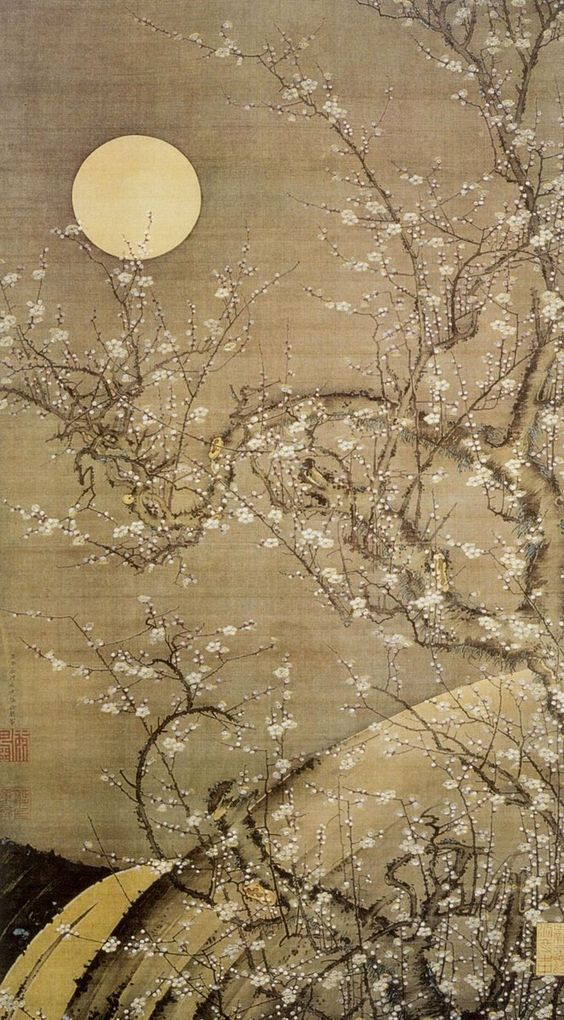 White Plum Blossoms in Moonlight - Ito Jakuchu (1755)