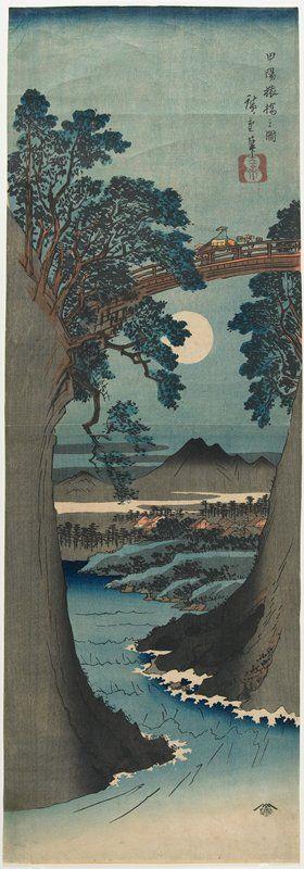 Monkey Bridge in Kai Province (Kōyō Saruhashi no zu) -   Utagawa Hiroshige     (ca. 1841–42)
