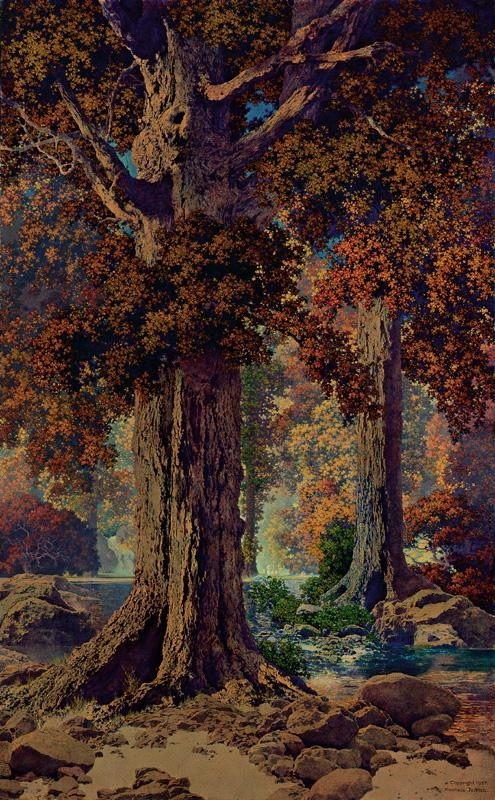 'Autumn Woods' - Maxfield Parrish (1927)