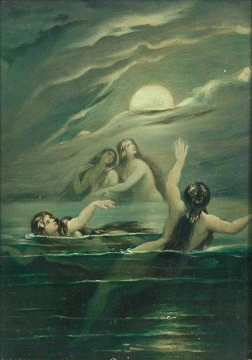 'Nereids worshipping the moon' - Moritz von Schwind