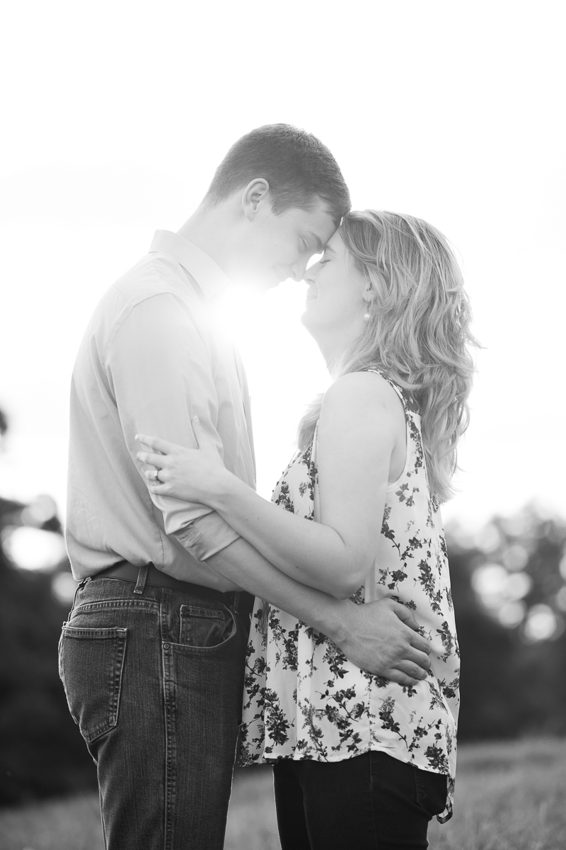 Black and white golden hour engagement photo session