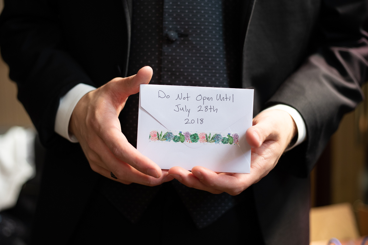 Love letter from the bride before the ceremony.