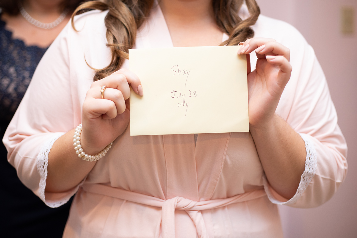 Love letter from the groom before the ceremony.