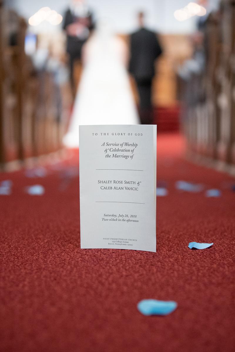 Wedding program during ceremony.