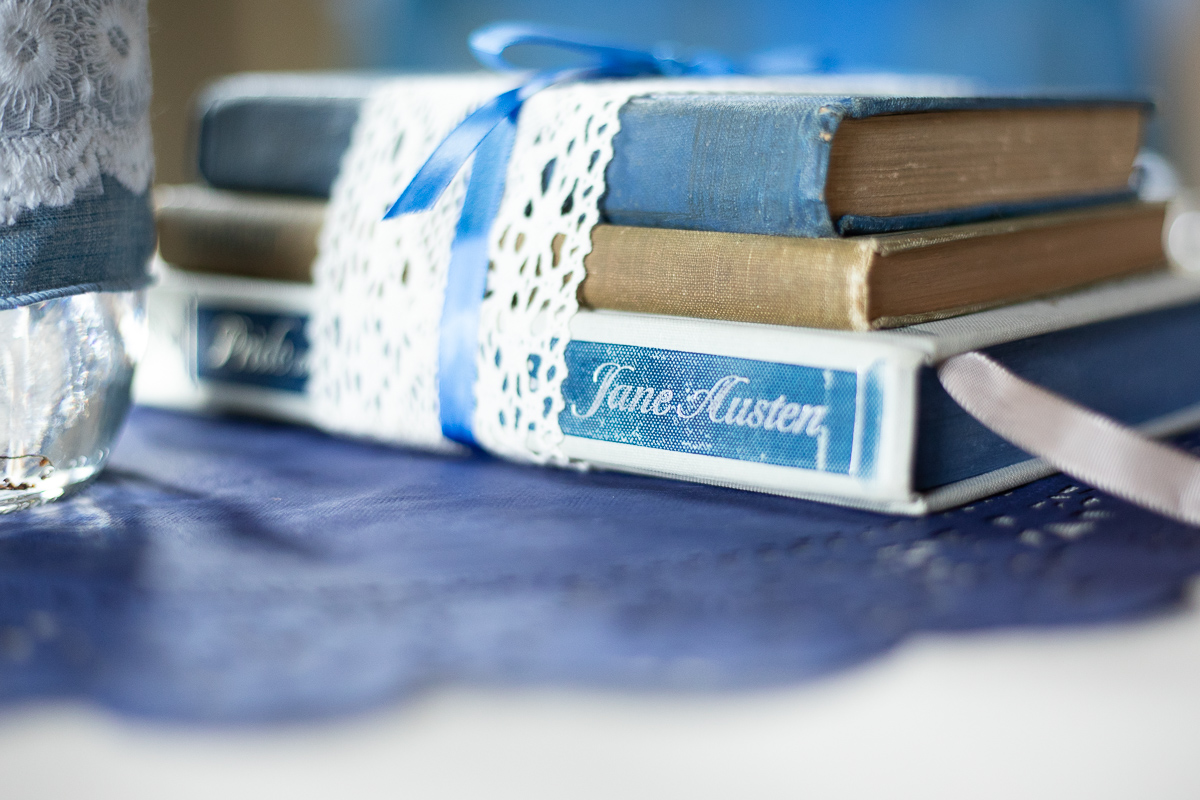 Jane Austen novels as wedding reception decorations.