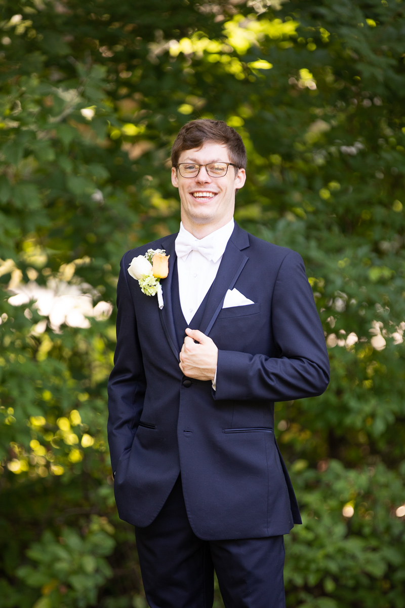 Groom smiling during formals.