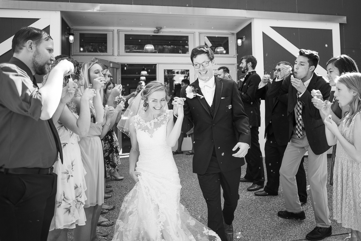 Bride and groom exiting wedding reception with bubbles.