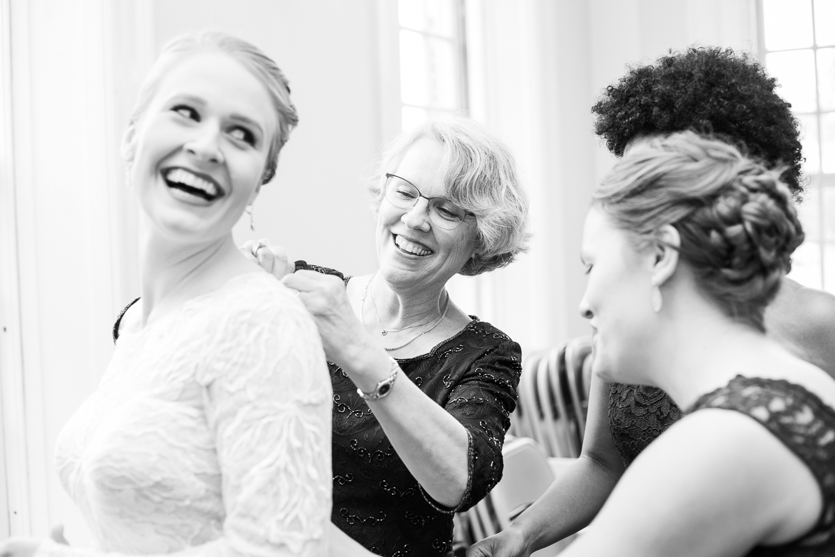 Bride and bridesmaids getting ready in Boston wedding