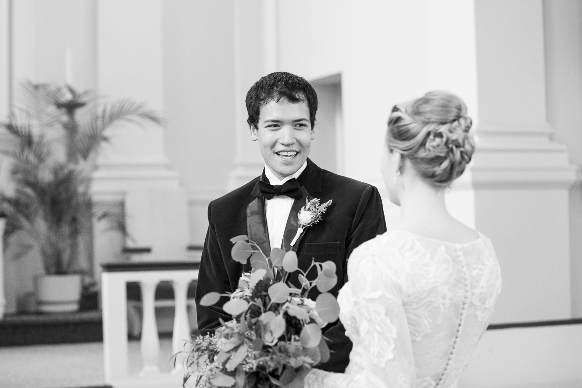 Groom's first look when he sees his bride for the first time.
