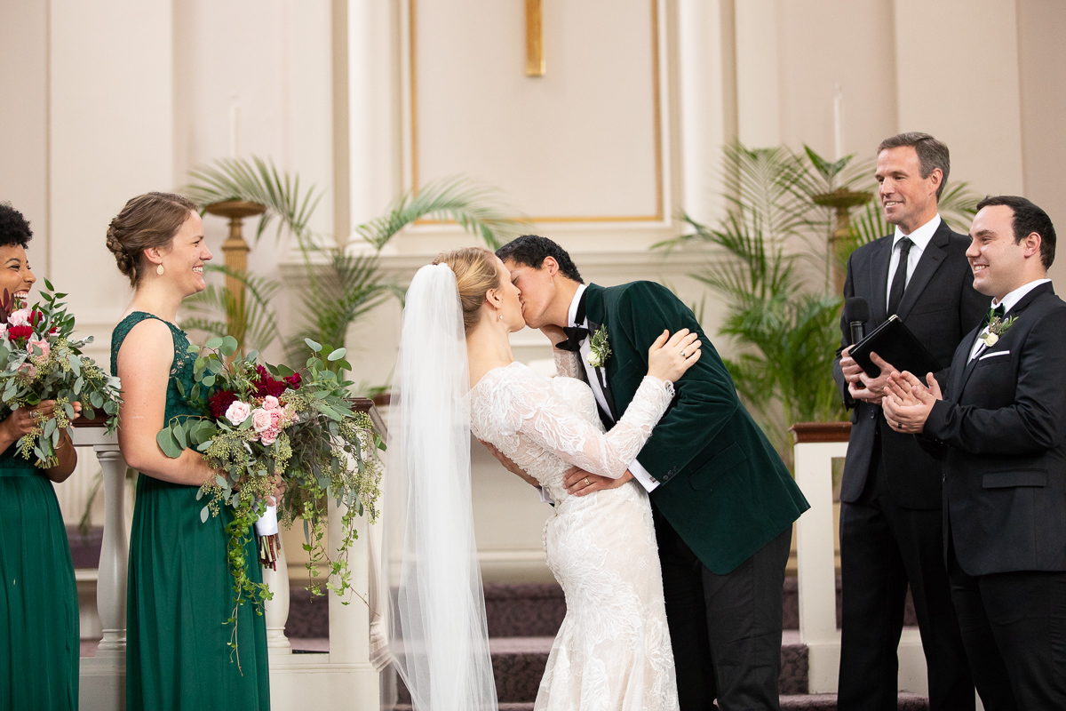 Bride and groom's first kiss.