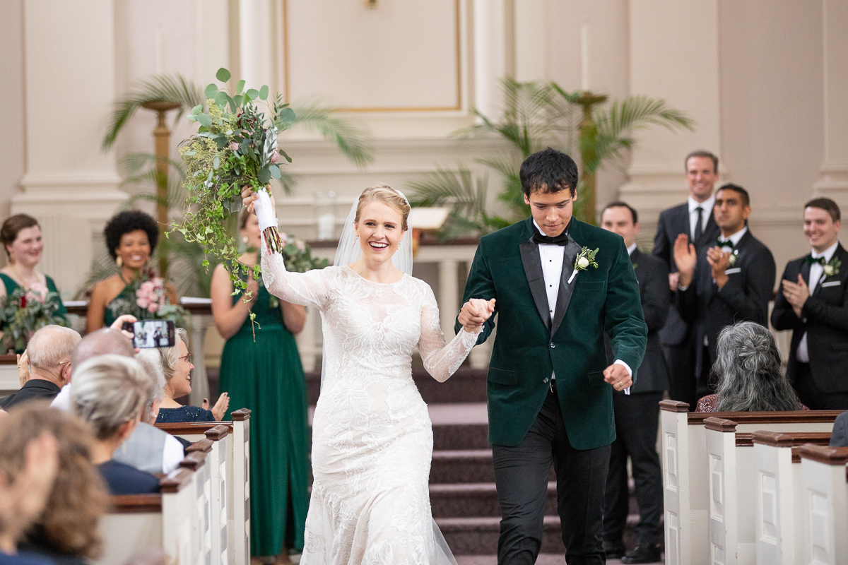 Bride and groom announced and leaving ceremony.