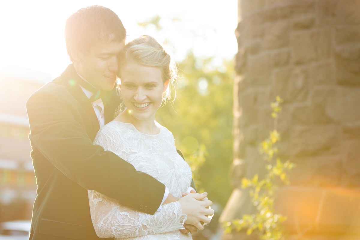 Bride and groom formals during golden hour in Boston.